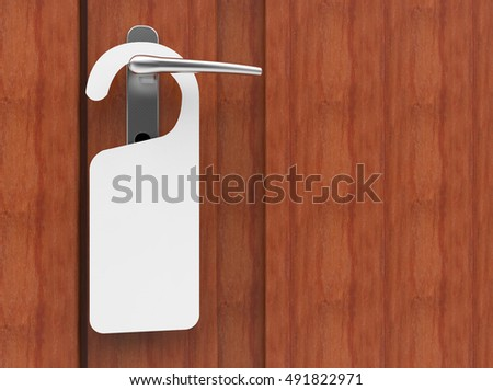3D illustration of paper signboard hanging on a handle of brown door