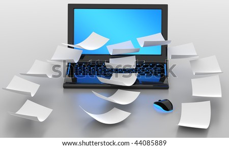3D illustration of PC laptop sharing files