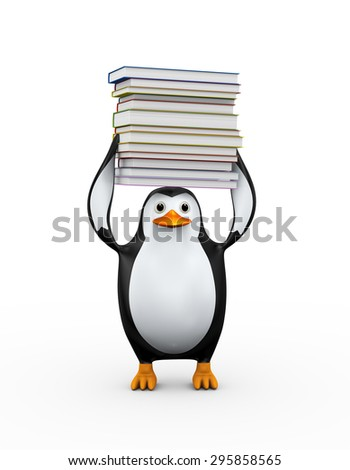 3d illustration of penguin carrying stack of heavy books - stock photo