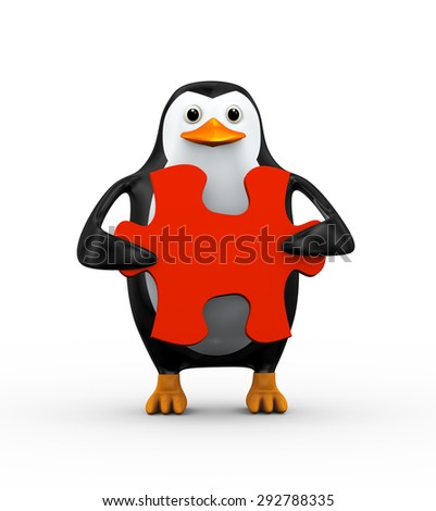 3d illustration of penguin holding red big puzzle piece - stock photo