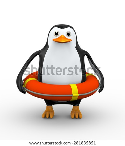 3d illustration of penguin in the life preserver lifebuoy ring - stock photo