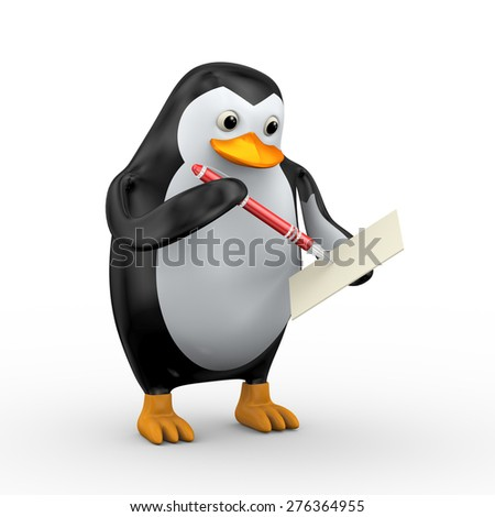 3d illustration of penguin writing with red stylish red pen