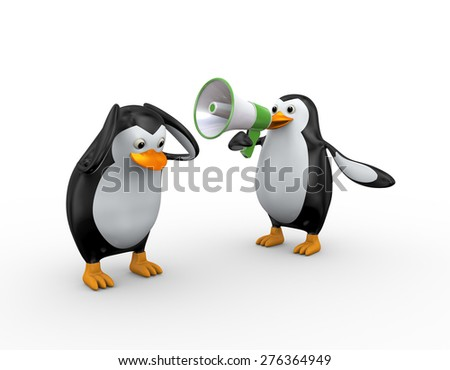 3d illustration of penguin yelling through megaphone to another penguin - stock photo