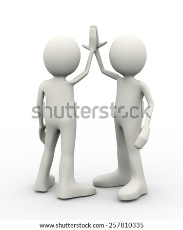 3d illustration of people giving high five. 3d human person character and white people. - stock photo