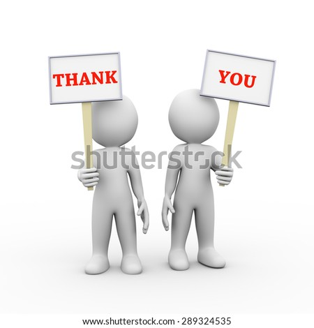 3d illustration of people holding sign board banner of word text thank you.  3d rendering of man person human people character - stock photo