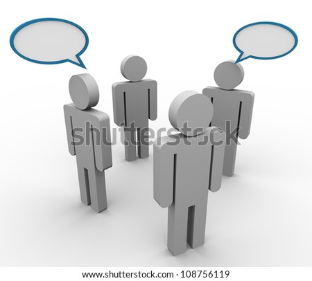 3d illustration of people in group with speech bubble - stock photo