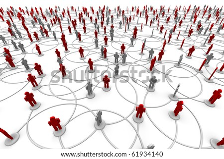 3D Illustration of people linked to a network. - stock photo