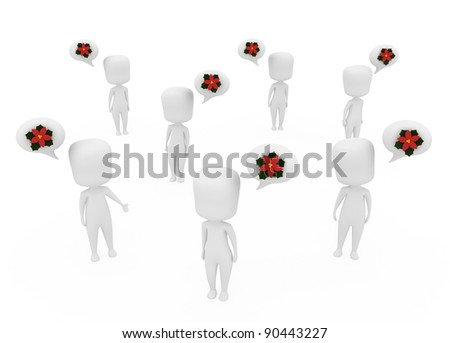 3D Illustration of People Talking About Christmas - stock photo
