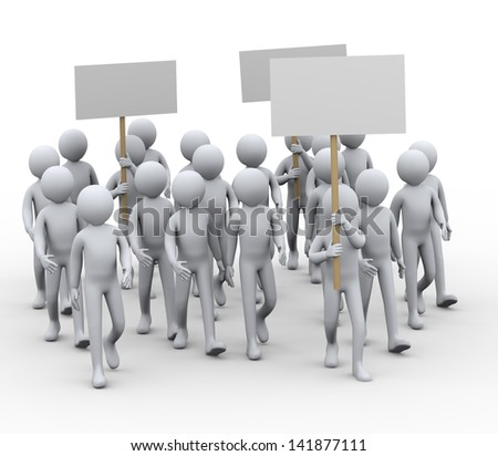 3d illustration of people with banner protesting and on strike walk.  3d rendering of human people character.