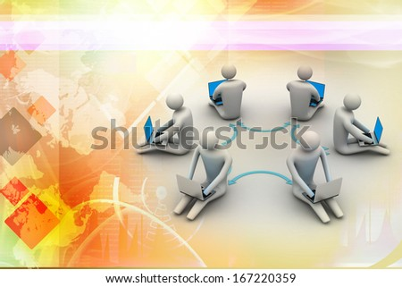 3d illustration of people working online on laptop - stock photo