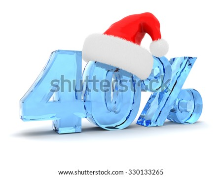 3d illustration of 40 percent discount and Christmas hat - stock photo