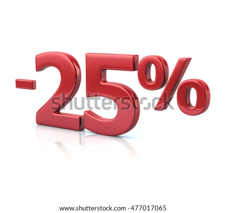 3d illustration of 25 percent discount in red letters on white background