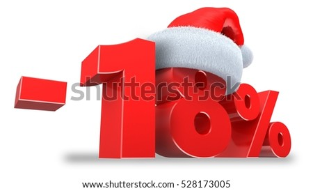 3d illustration of 18 percent discount over white background