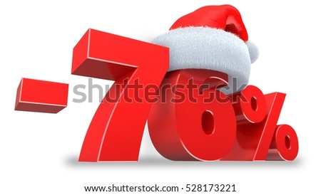 3d illustration of 76 percent discount over white background
