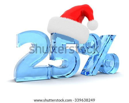 3d illustration of 25 percent discount sign and christmas hat - stock photo
