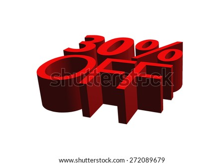 3d illustration of 30 percent discount sign over white background - stock photo