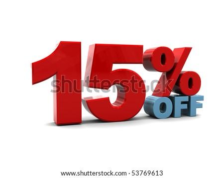 3d illustration of 15 percent discount sign, over white background - stock photo