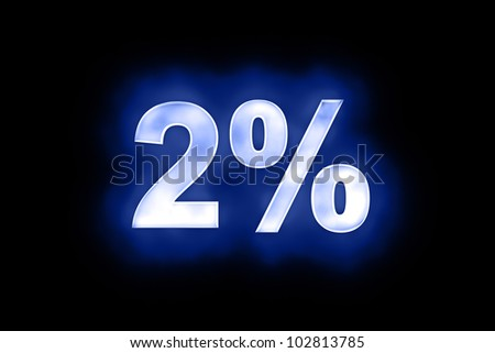 3d illustration of 2 percent in glowing mottled white numerals on a blue background with a black surround - stock photo