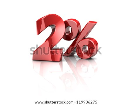 3d illustration of 2 percent sign, over white background