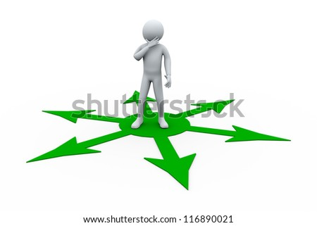 3d Illustration of person and different directional arrows. 3d rendering of human character. - stock photo