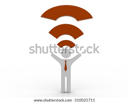 3d illustration of person and wifi icon - stock photo