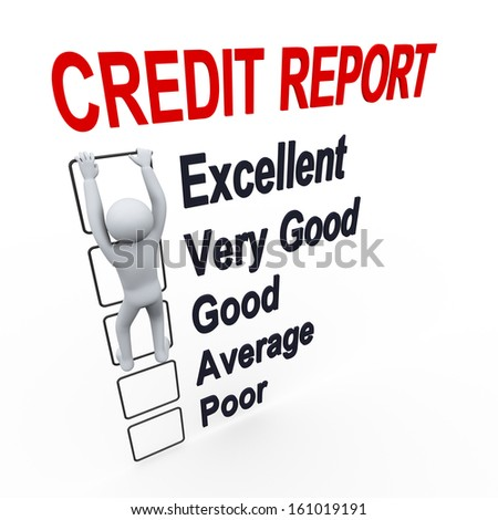 3d illustration of person climbs up boxes of credit score report.  3d rendering of human people character - stock photo