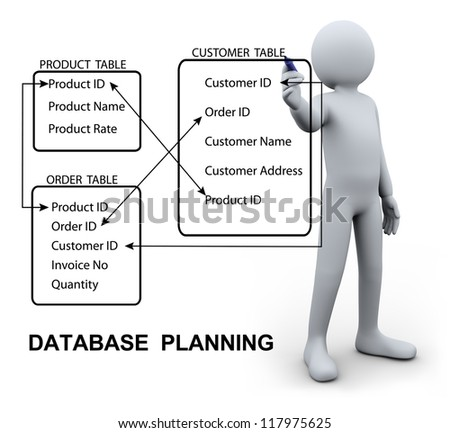 3d Illustration of person designing and writing relational planning of database management system. 3d rendering of human character.