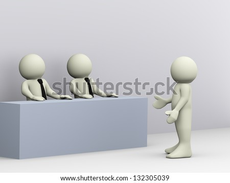 3d illustration of person giving job interview. 3d rendering of human character - stock photo