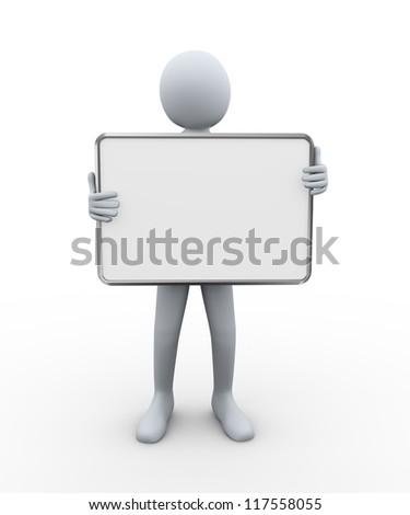 3d illustration of person holding empty board.  3d rendering of human character.