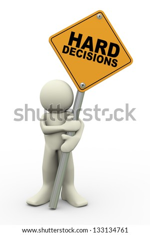 3d illustration of person holding road sign of hard decisions. 3d rendering of people human character. - stock photo
