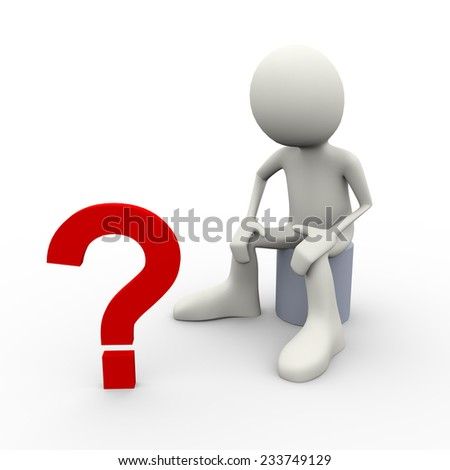 3d illustration of person looking at big question mark. 3d human person character and white people - stock photo