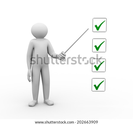 3d illustration of person man with stick and to do check mark list. 3d human person character and white people - stock photo