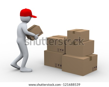 3d illustration of person placing cardboard shipping parcel. 3d rendering of people - human character. - stock photo