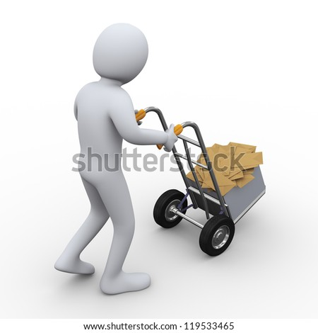 3d illustration of person pushing hand truck with box full of envelopes. 3d rendering of human character - stock photo