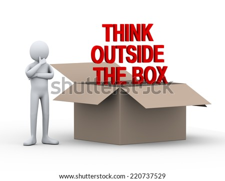 3d illustration of person thinking outside the box.  3d rendering of human people character. - stock photo