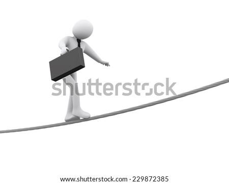 3d illustration of person walking on rope.  3d rendering of people - businessman human character - stock photo