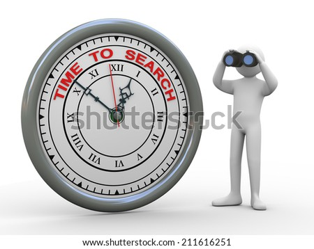 3d illustration of person with binocular standing with time to search clock. 3d rendering of human people character. - stock photo