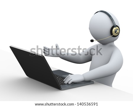 3d illustration of person with headphone using laptop at call center for customer help and support.  3d rendering of human people character. - stock photo