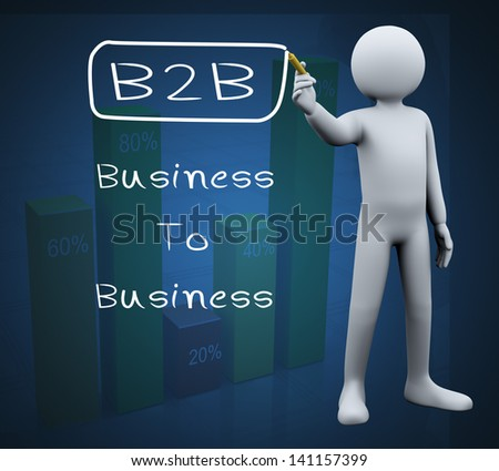 3d illustration of person with marker writing b2b business to business. 3d rendering of people - human character. - stock photo