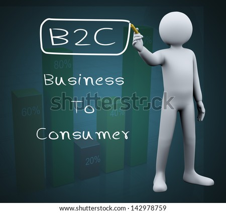 3d illustration of person with marker writing b2c business to consumer. 3d rendering of people - human character. - stock photo