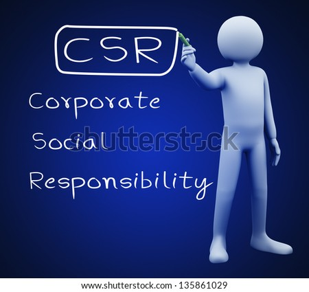 3d illustration of person with marker writing csr - Corporate Social Responsibility.  3d rendering of people - human character. - stock photo