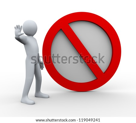 3d illustration of person with stop road sign.  3d rendering of human character.