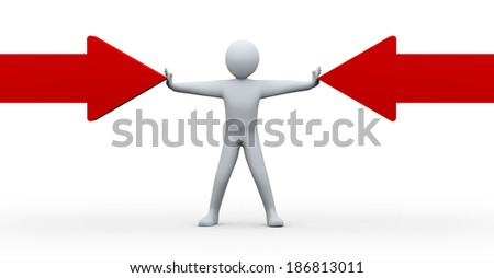3d illustration of person with wide open arms between two arrows.  3d rendering of human people character and stress management concept. - stock photo