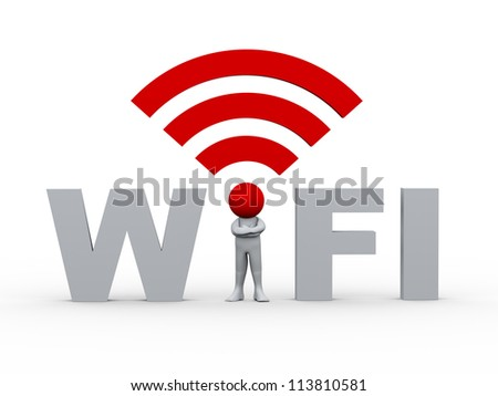 3d illustration of person with wifi icon head standing in between word wifi.  3d rendering of human character. - stock photo
