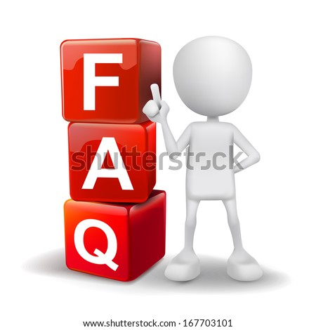 3d illustration of person with word FAQ cubes - stock photo