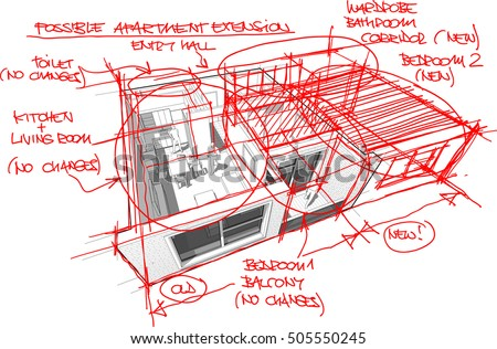 3d illustration of perspective cutaway diagram of a one bedroom apartment completely furnished with red hand drawn architectural sketches over it regarding a possible apartment extension