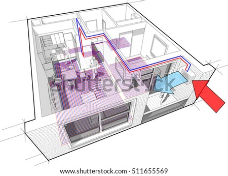 3d illustration of Perspective cutaway diagram of a one bedroom apartment completely furnished with hot water underfloor heating and air source heat pump as source of heating energy