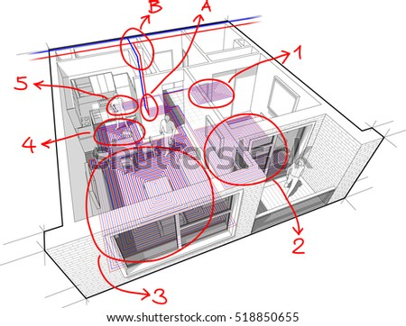 3d illustration of Perspective cutaway diagram of a one bedroom apartment with hot water underfloor heating and central heating pipes as source of heating energy with hand drawn notes
