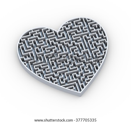 3d illustration of perspective view of heart maze design. - stock photo