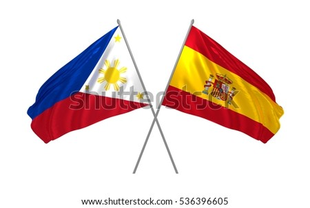 3d illustration of Philippines and Spain crossed state flags waving